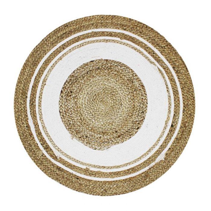 Trouva: 70 cm runder Juteteppich mit weißem Kreis