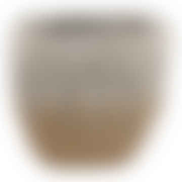 Rezan Gold Cement Leaves Pot Oval
