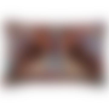 Teal Twin Eagle Printed Velvet Cushion
