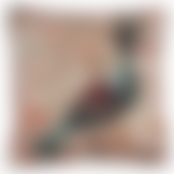 Grigia Crowned Pigeon Square Printed Velvet Cushion