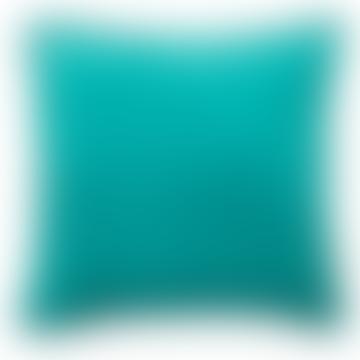 Plain Turquoise Feather Filled Luxury Velvet Cushion