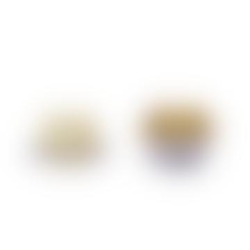 Hubsch Candlestick Glass Amber/Purple S/2