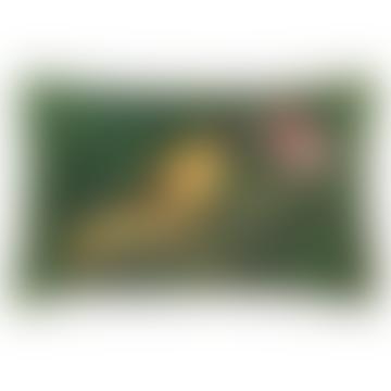 Malachite Oriole Printed Velvet Cushion