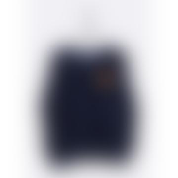 Navy Tommy Sweater Samt Bio-Baumwolljersey mit Mandarine-Stickerei