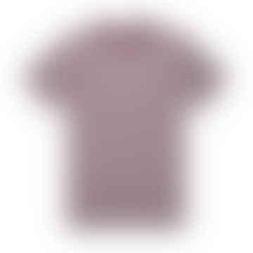 Classic Crew T Shirt White Maroon English Stripe