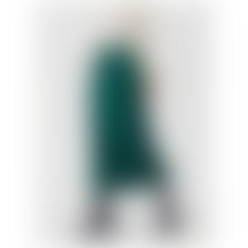 Forest Green Satin Midi Skirt