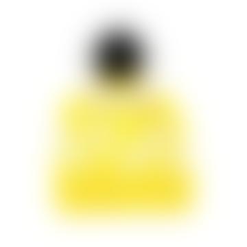 Miss Pompom Stripe Beanie Hat Yellow