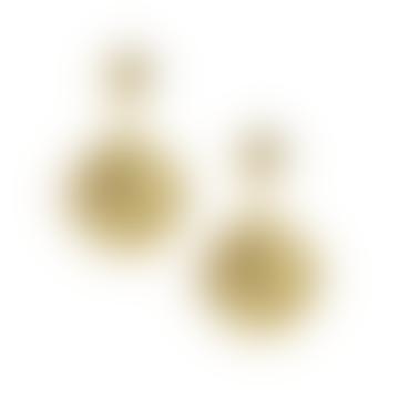 Ottoman Hands Gold Plated Venus Roman Coin Pearl Drop Earrings
