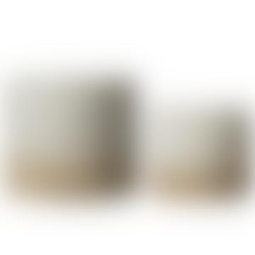 Wikholm Form White & Natural Glazed Ceramic Pot - Large