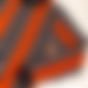 Thin Wool Orange Navy Stripe Knit