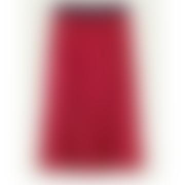 Red Printed Pleated Midi Skirt