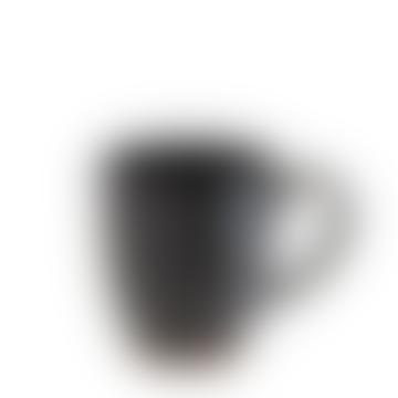 Madam Stoltz Black and Dark Brown Glazed Stoneware Mug