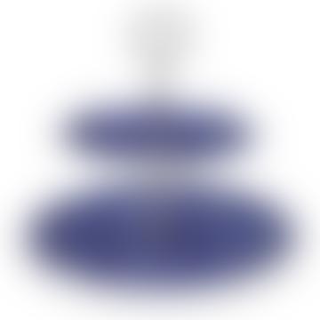 Blue Calico 2 Tier Cake Stand