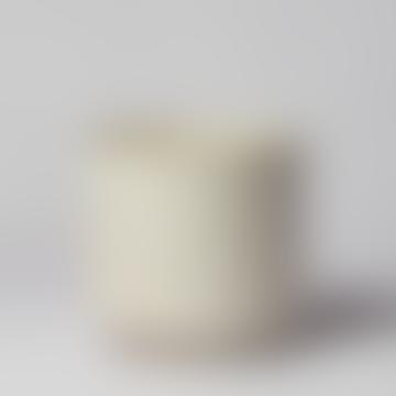 Forest White Ceramic Ribbed Pot
