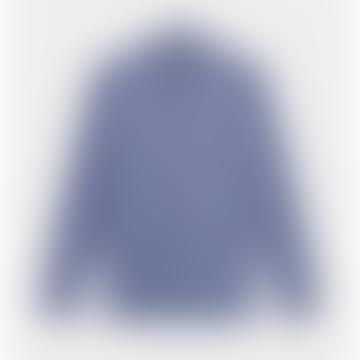 Chemise en popeline bleue à col officier Saint Honoré