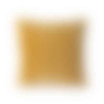 HKliving Cushion 45 X45cm Striped Velvet in Ochre / Gold Colour