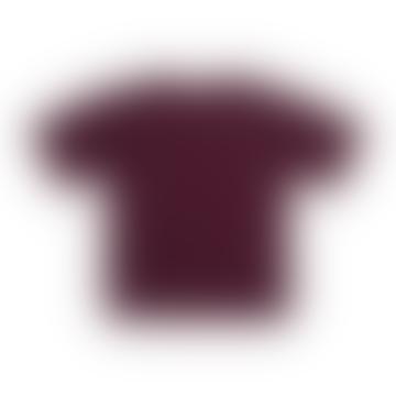Navy Red Short Sleeve Breton Striped Cotton Shirt