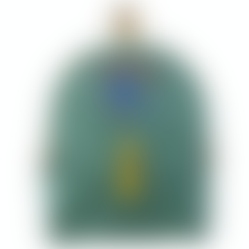 Medium Waxed Cotton Backpack Black Stork Green