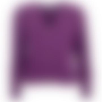 Ribbed V-Neck Cardigan Purple