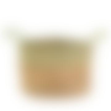 Natural And Sage Stripe Basket