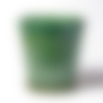 B Green Turquoise Green Glazed Pot & Saucer - Medium
