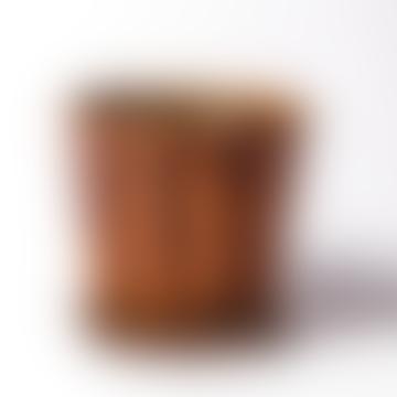 Warm Brown Ceramic Pot & Saucer - Medium