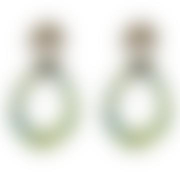 Anna Leaf Shape Resin Earrings Gold Green