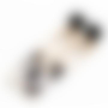 Aline Long Two Tone Metal Resin Earrings Gold Black White