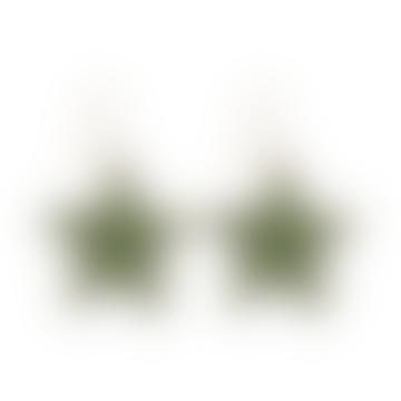 Celie Star Earrings Gold Green