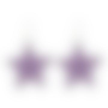 Celie Star Earrings Silver Purple