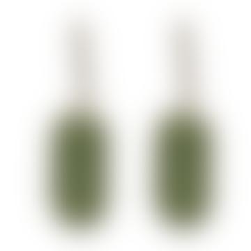 Laurence Geometrical Shape Two Tone Earrings Gold Green