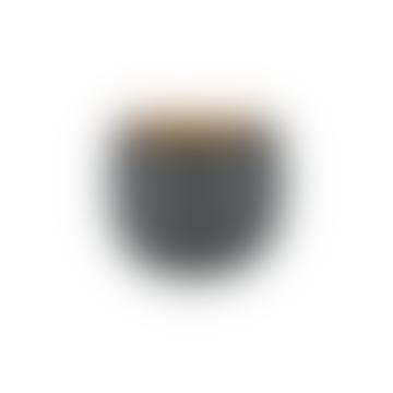 Tembesi Etched Planter - Antique Black and Brass  - Medium