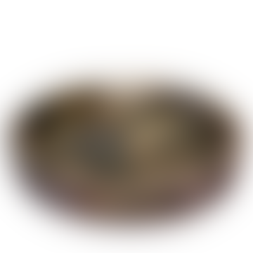 livs Round Tray Wood Herringbone Patter Large