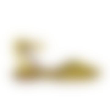 Senara Suede Metallic Sandal Lemon Gold