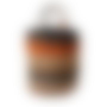 Large Jute Bag Beige Navy Orange Stripes