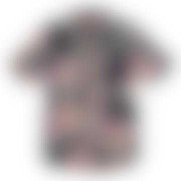 Navy Marine Bamboo Floral S S Shirt
