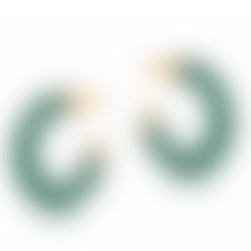 Green Isabella Resin & Metal Hoop Earrings