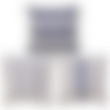 Cojín de Rayas Surtido en Azules 45x45cm