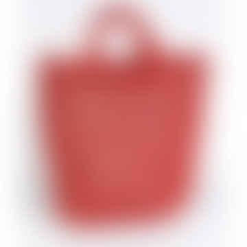 Medium Red Jute Macrame Shopping Bag