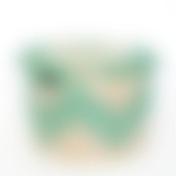 Small White/Turquoise Sene Simon Basket with Lid