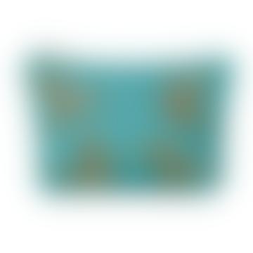 Hummingbird Turquoise Makeup Bag