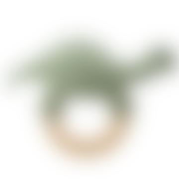 Vert Hochet En Crochet Dinosaure Sur Anneau En Bois