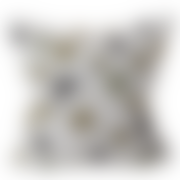 Funda de cojín de lino bordado Clover
