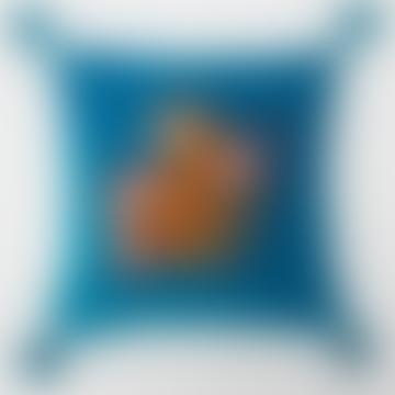 45 X 45cm Tiger Azure Velvet Cushion