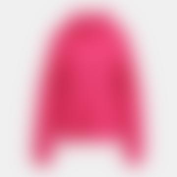 Pink Chunky Ribbed Turtleneck Jumper