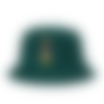 Bear Chino Embroidered Bucket Hat Collage Green