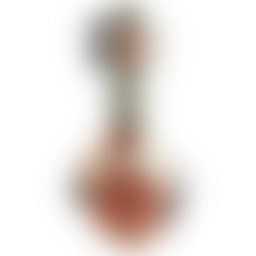 Taupe aus weißem und schwarzem abstraktem lackiertem Terrakotta-Vase mit Griffen