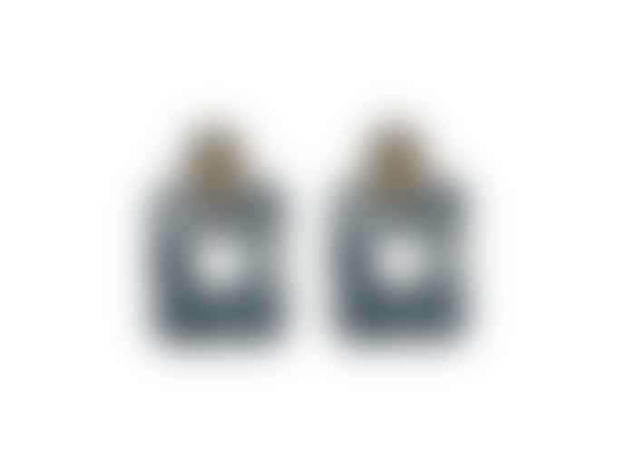 Big Metal Claudine Elongated Resin Earrings Gold Grey