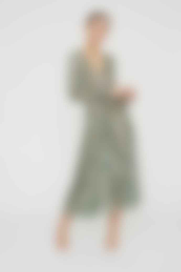 ROTATE Birger Christensen Sierra Dress in Green Fern
