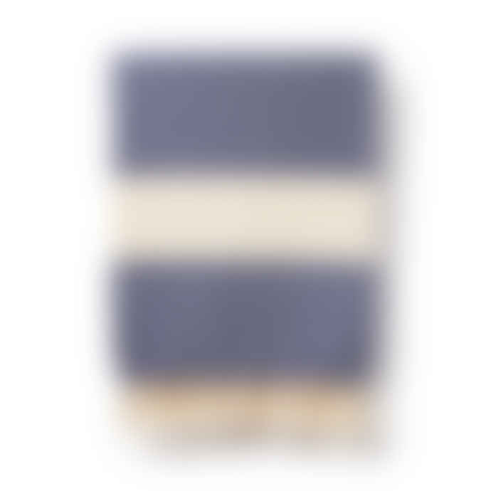 Luks Linen Navy Blue Turkish Blanket in Damla Diamond Weave